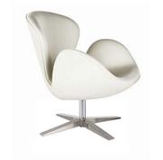 Кресло СВ,  белый,  черный кожзам