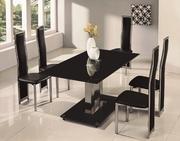 Стол стеклянный обеденный Аврора,  стекло черное