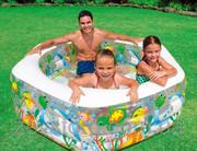 Семейный бассейн с надувным дном