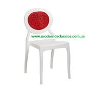 Пластиковый стул Ронда белый (Ронда РС с красной прозрачной спинкой)